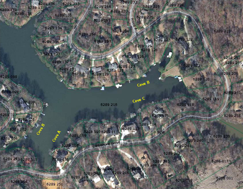 Berkeley Lake major coves A-D
